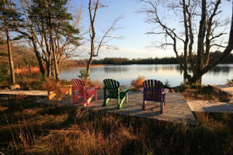Adirondack chairs on East Meadow Lake (on-site)