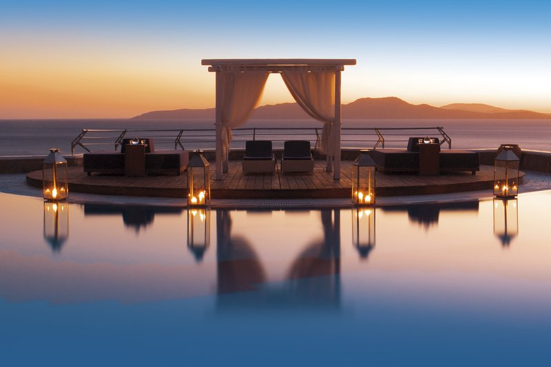 Stunning sunset at Mykonos Grand pool area