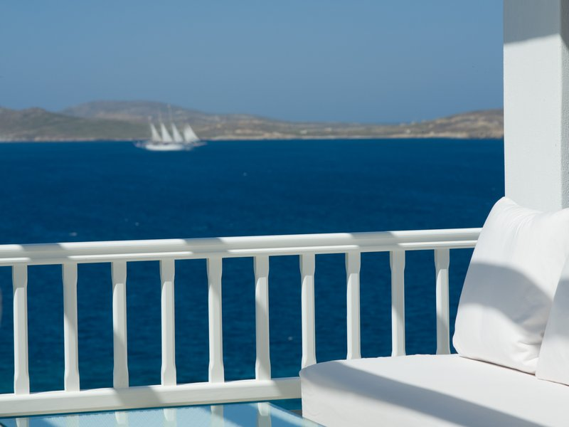 White & Blue at Mykonos Grand pergola