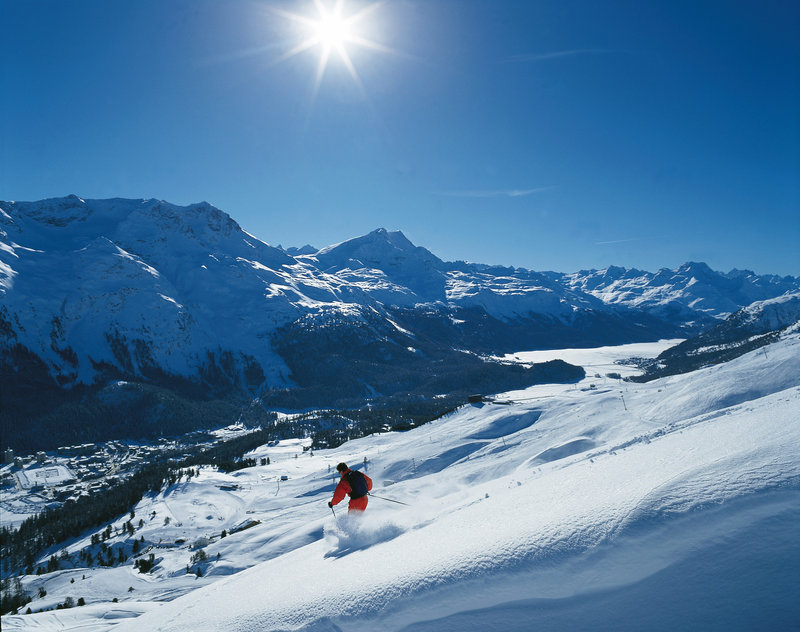Skiing in Winter time in St. Moritz