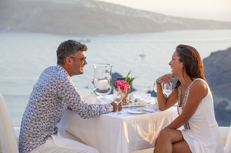 Dining at Canaves Oia Hotel