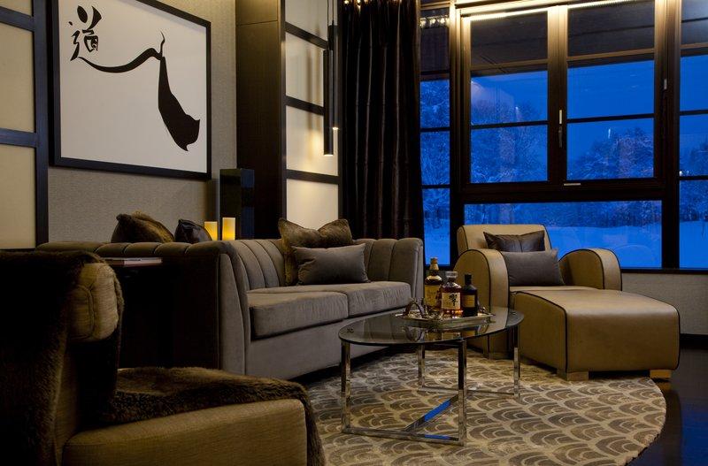 Lounge area with custom designed furnishings