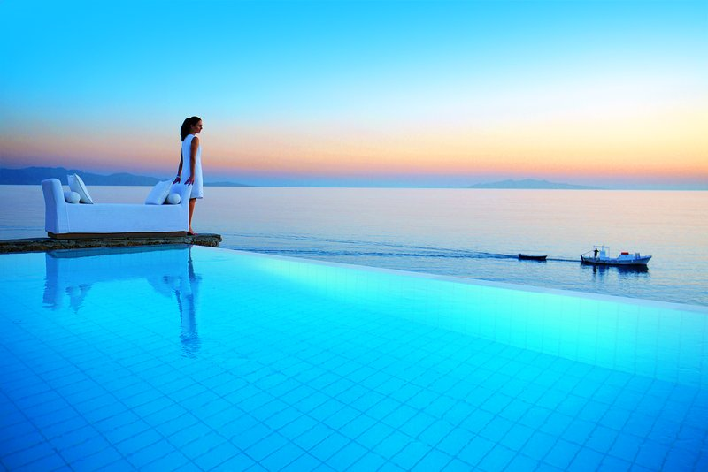 Two-tiered outdoor pool with Aegean Sea views
