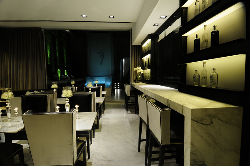 White marble lobby bar
