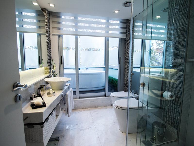 Indoor outdoor luxurious marble bathroom
