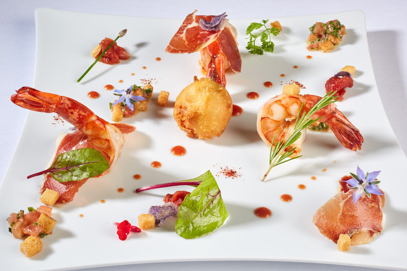 Tomato - Tomato Cracker stuffed with Ricotta, Tiger Prawn, Iberian Bellota Ham, Tomato Vinegar