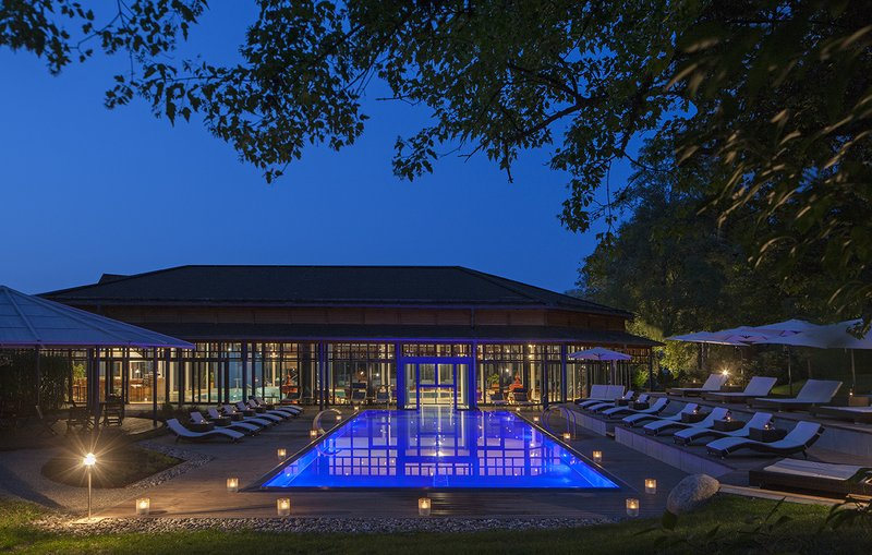 Heated Outdoor Pool at Night