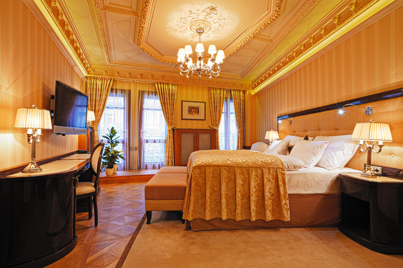 Opulent marble floors and sparkling chandeliers
