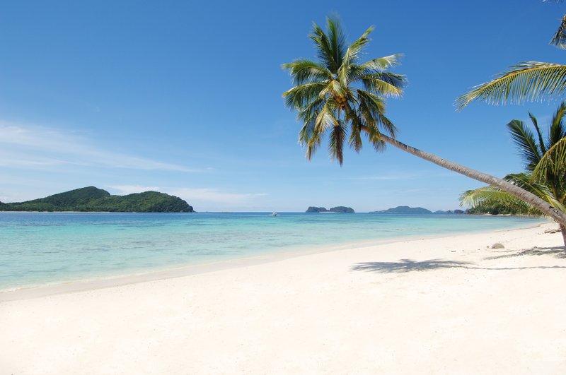 750-meter stretch of white sand beach