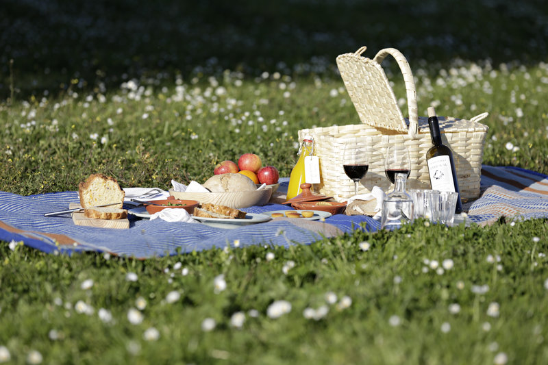 Picnic basket with local delicacies and wine