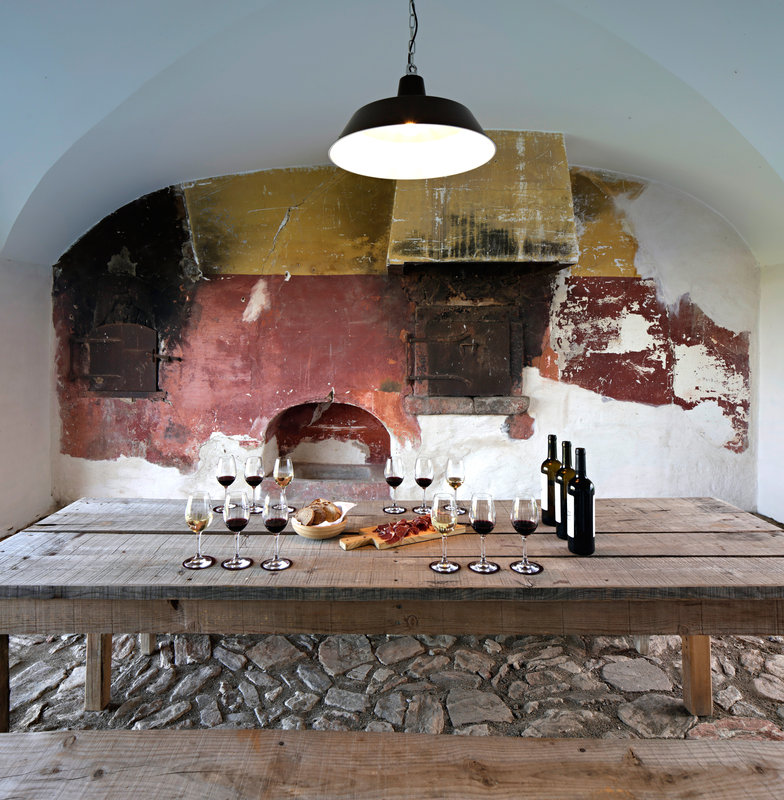 Wine tasting by the old wood fired oven
