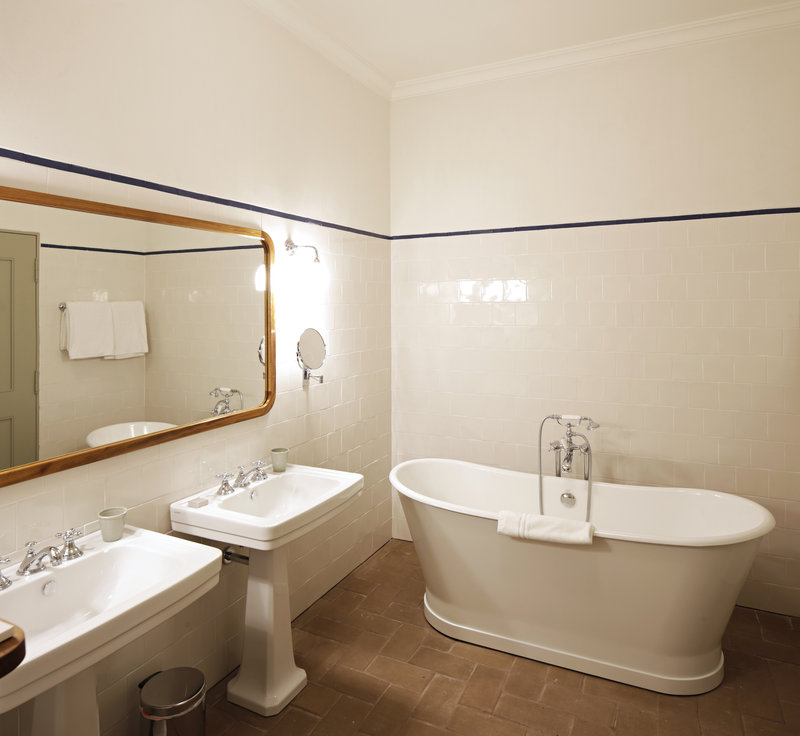 Interiors with handmade tiles and clay bricks
