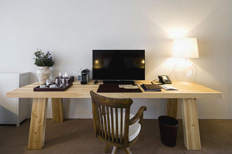 Handmade wood desk is part of every room