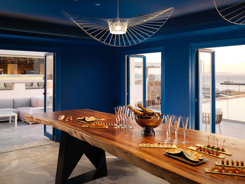 Wine Tasting Room with ultra Marine Blue Design