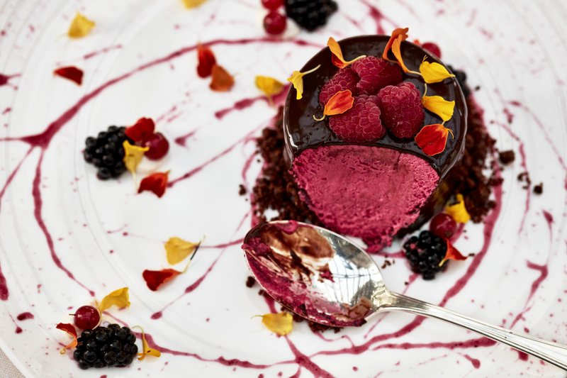 Chocolate Coated Berry Mousse