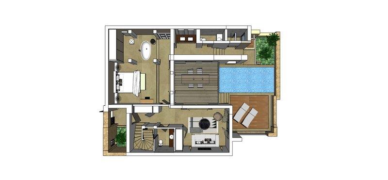 Residential Pool Villa Floor Plan