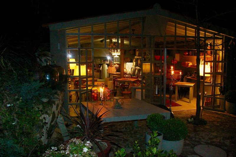 Cramo's Wine Atelier exterior by night