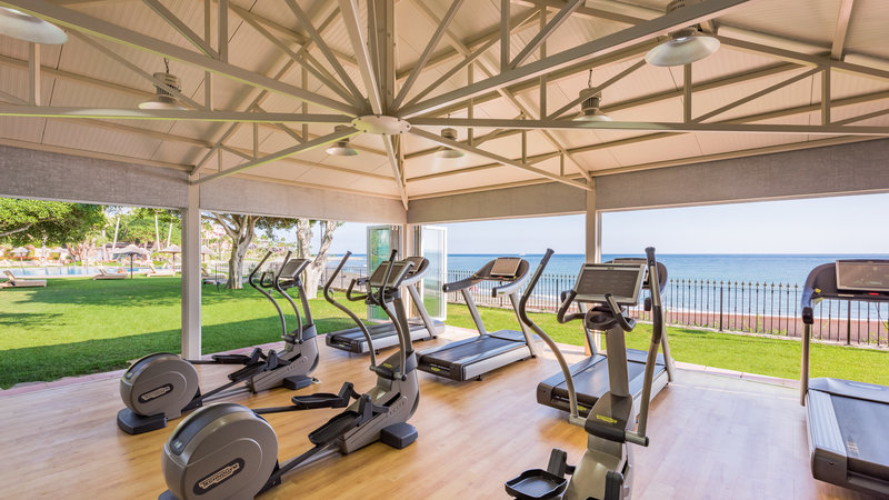 Gym with sea views
