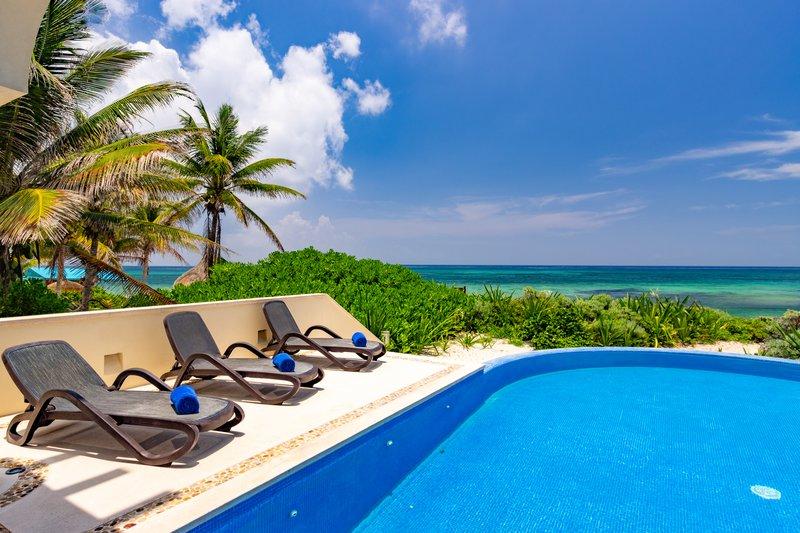 Private Pool Facing Akumal Beach
