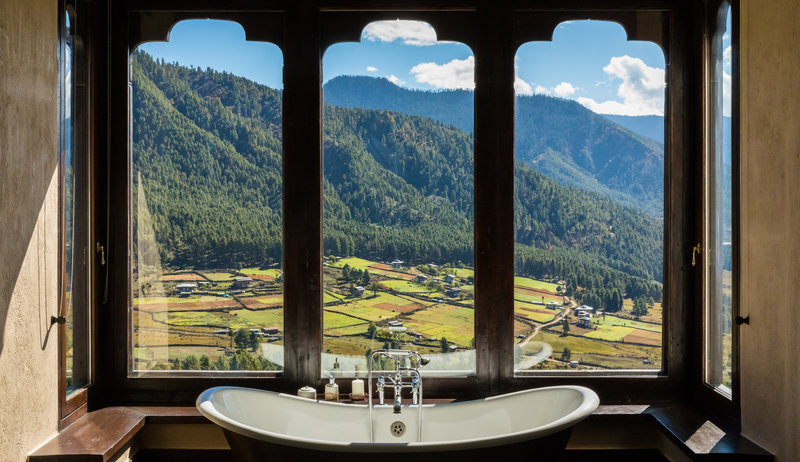 Bath with mountain view