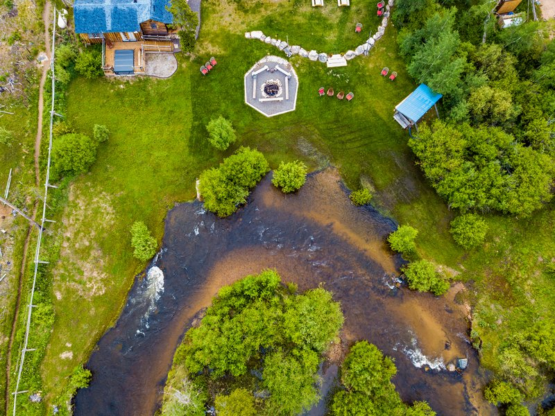 Overhead shot of the Fire Pit and the river