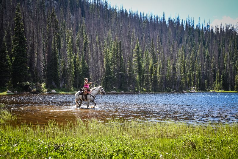 Cierra Fishing On Horse