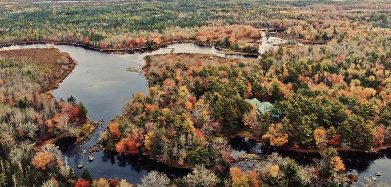 Trout Point Lodge In The Fall Aerial