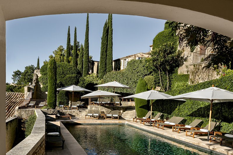 Outdoor pool surrounded by vineyards and pine trees