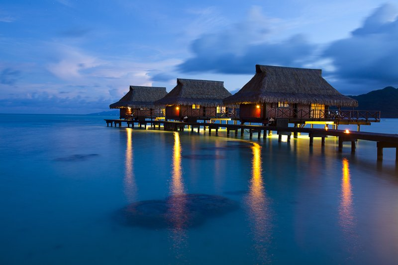 Overwater Bungalows by Night