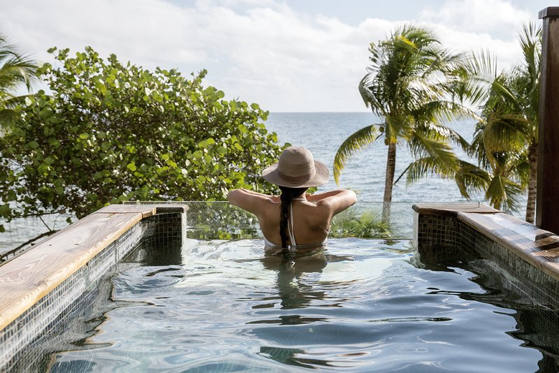 Villa Plunge Pool with Caribbean Sea View