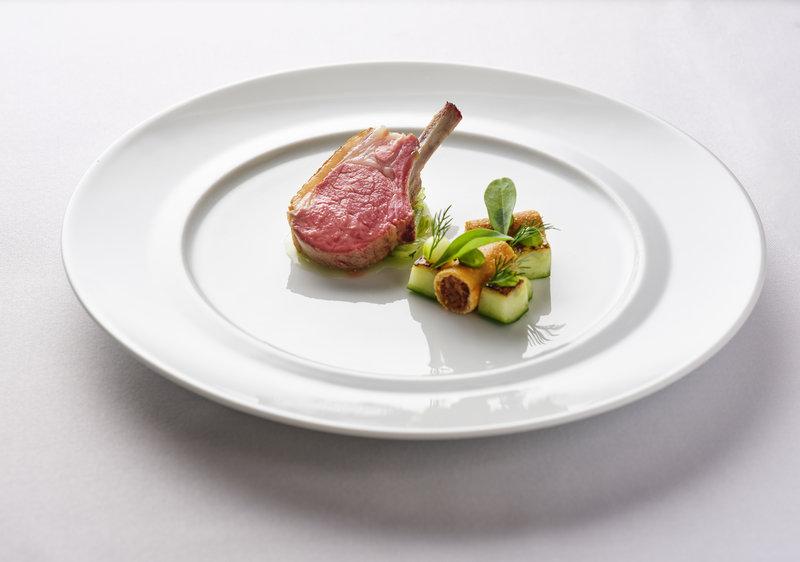 Roast rack of Dorset lamb, confit lamb breast, cucumber, dill